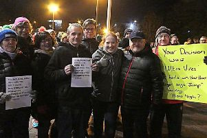 Protesters from the campaign group Save Craigavon City Park and Lakes at Craigavon Civic Centre on Monday night