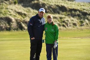 Irish golf legend captain Padraig Harrington meets Team Ireland's Jill Connery, from Scarva at the Portmarnock Links Hotel in Portmarnock, Co Dublin.
