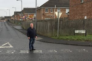 Sinn Fein spokesperson Michael Tallon at the Old Portadown Road junction with Tullygally Road East