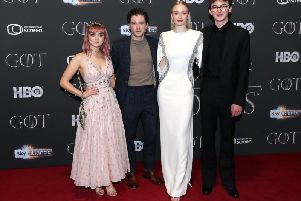 Wolf pack....Maisie Williams, Kit Harington, Sophie Turner, and Isaac Hempstead Wright attending the Game of Thrones Premiere, held at Waterfront Hall, Belfast. (Liam McBurney/PA Wire)
