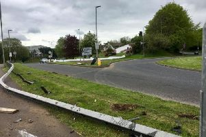 Damage at the A29 rounabout in Cookstown.