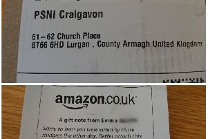 Package for M at Lurgan Police Station
