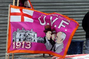 One of the Ulster Volunteer Force (UVF) flags used in east Belfast in previous years. Photo: Paul Faith/PA Wire