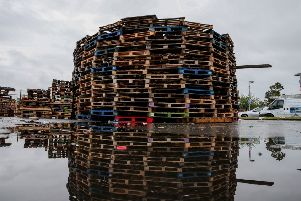 PressEye - Belfast - Northern Ireland - 09th July 2019''Pictured: The bonfire at Avoniel was reconstructed after the removal of tyres by the bonfire builders. ''Picture: Philip Magowan / PressEye