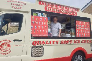 Jimmy Robinson in one of his ice-cream vans in Lurgan