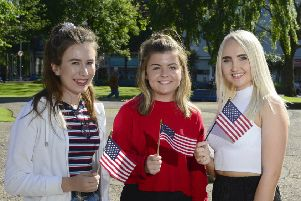"Study USA Armagh: From left: Melissa Tully (Armagh), Catherine Dummigan (Lurgan) and Cara Matchett (Portadown) are among 54 students who have been selected to take part in the British Council�""s prestigious Study USA programme, where they will spend a year studying business or STEM-related subjects in the USA.  The programme is managed by the British Council on behalf of Department of Economy. For more information on the programme, visit http://nireland.britishcouncil.org, follow on Twitter: BCouncil_NI and on Facebook: www.facebook.com/britishcouncilnorthernireland."