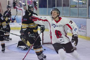 Solent Devils player Ralfs Circenis celebrates his goal against Bracknell Hornets. Picture: Dave Chapman