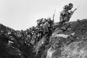 Troops going over the top at the start of the Battle of the Somme in 1916 during a training exercise behind the lines