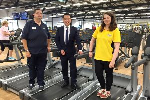 Alan Mak MP, centre, with Andy and Chloe Gooch at Havant Leisure Centre