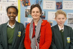 Flick Drummond MP, centre, with Ruth Gabrat and Oliver Chandler, Year 9