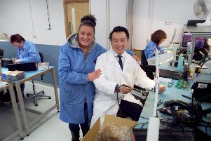 Alan Mak MP on the production line at Havant firm Outsource Electronics