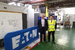 Alan Mak MP, right, with Eaton site manager Tyrone White