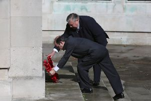 Cllr Frank Jonas and Organiser Bob Beech laying the wreath'Picture:  Habibur Rahman