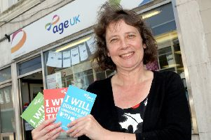 Shop manager Dawn Wilkins outside Age UK in Fareham   Picture: Innes Marlow