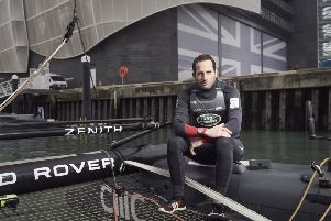 Ben Ainslie at the Land Rover BAR headquarters in Old Portsmouth