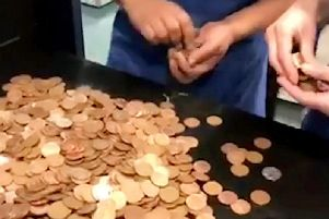 It tooka while to count the coins
