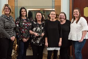 From left, Carley Gardner, Amie Phillips, Nadia Francis, Lisa Scrivens, Dolly Cowlishaw and Brenda Tregarthen from the Portsea Events Group receive the Best Street Award for Queens Street in Portsea from Linzi Stean, left, from sponsor Colas' Picture: Vernon Nash
