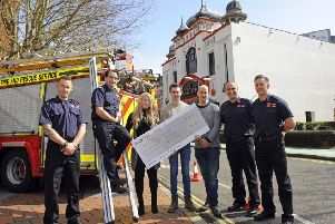 BIG THANK YOU Left to right, firefighter Tom Davies, Southsea Red Watch Manager Jamie Wren, Astoria staff Gemma Sands, Alistair Ritchie, Mark Rumbold, with firefighter James Errigo, and firefighter Alex McMahon Picture by:  Malcolm Wells (180411-4308)