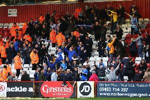Pompey fans sung well past the final whistle in the previous trip to Stevanage in March 2017. Picture: Joe Pepler