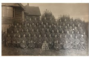 The Denmead and Hambledon Home Guard in August, 1944 - captured outside Jubilee House, Ashling. Can you name anyone?