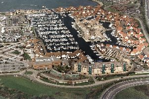 An aerial shot of Port Solent in 2003