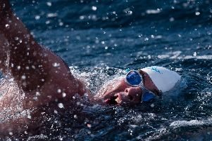 Renowned endurance swimmer Lewis Pugh near Eddystone Lighthouse during The Long Swim challenge on July 24. Picture: Kelvin Trautman