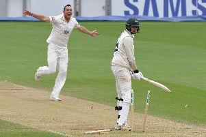 Kyle Abbott took three wickets but Hampshire were well below par on day two at Essex. Picture: Neil Marshall