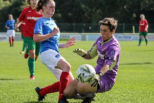Rachel Panting is challenged by the Coventry keeper. Picture: Jordan Hampton