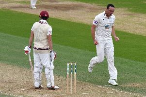Kyle Abbott celebrates the wicket of James Hildreth. Picture: Neil Marshall