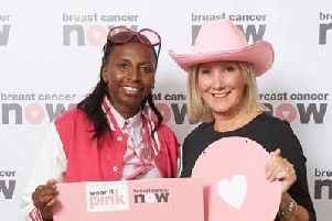 Gosport MP Caroline Dinenage, right, is wearing pink for this year's Wear It Pink campaign, organised by Breast Cancer Now. Picture: Supplied