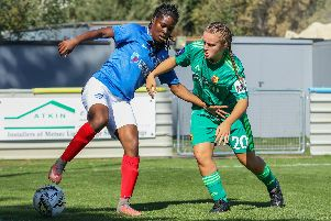 Esther Anu making her debut for Pompey Women against Watford. Picture: Jordan Hampton
