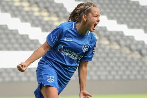 Katie James celebrates her goal against MK Dons Picture: Jordan Hampton