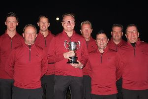 Rowlands Castle's triumphant Hampshire Sevens team. Left to right: Mark Ostram, Phil Russell, Phil Hodgson, James Hawley (captain), Simon Ostram, Jamie Turnball, Paul Whiteaway and Glynn Catterall. Picture: Andrew Griffin