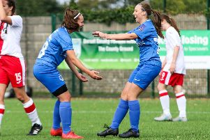 Carla Perkins scored a hat-trick and EJ May was in superb creative form for Pompey Women. Picture: Jordan Hampton