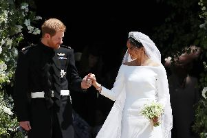 The Duke and Duchess of Sussex on their wedding day. Picture: PA