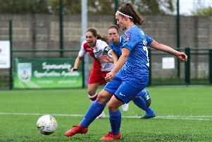 Carla Perkins scored three goals for Pompey Women at Poole. Picture: Jordan Hampton