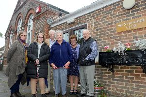 Amanda Stringer and Ruth Brewer with trustees David Todd, Margaret Lashly, Valerie Owen and Bob Francis outside the Westbourne Club. Picture: Sarah Standing (180756-5560)