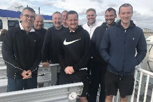 Eight Portsmouth league tennis players returning from duty on the IoW last weekend. From left: Tim Clark, Michael Isaacs, Jim Moore, Jonty Challis, Terry Lawrence, Martin Doyle, Oli Perigo, Ollie Williams.