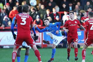 Ben Thompson does his best to find a winner in Pompey's trip to Accrington. Picture: Joe Pepler