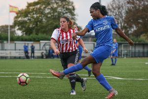 Esther Anu was on the mark for Pompey Women at Brentford. Picture: Jordan Hampton