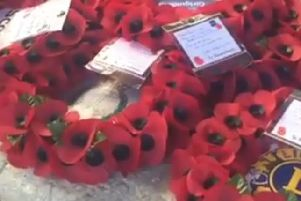 Poppies were laid in the village square in Stubbington, commemorating the centenary of Armistice Day. Picture: Chris Talbot
