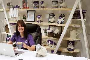 Lynda Harding, the inventor of Ewan the Dream Sheep, in her office