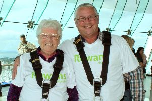 Myra Johnson with her son Trevor before their abseil at the Spinnaker Tower