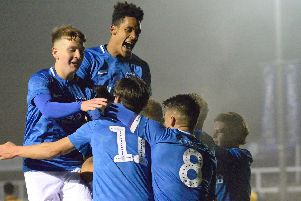 Pompey Academy celebrate at Cray Wanderers. Picture: Colin Farmery