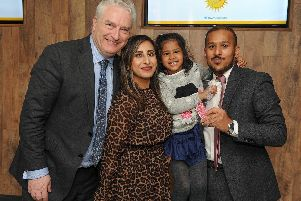 From left, Portsmouth City Council leader Gerald Vernon-Jackson, Shazmin Miah, Eliyah Ali and Faz Ahmed from The Akash. Picture: Habibur Rahman