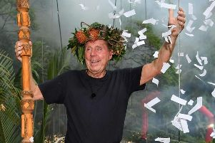 Harry Redknapp celebrates after winning I'm A Celebrity... Picture: ITV