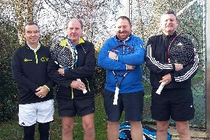 Lee men's III team, from left, John Dubber, Steve Webb, James Lazarus and Jim Clark