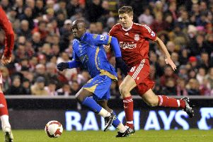 Lassana Diarra in action against Liverpool. Picture: Allan Hutchings