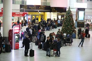 Passengers at Gatwick airport waiting for their flights yesterday following the delays and cancellations brought on by drone sightings near the airfield Picture: Isabel Infantes/PA Wire