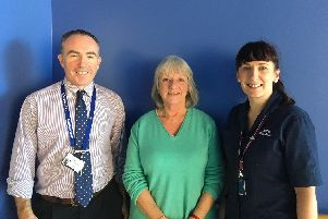 Paul Gibbs, consultant surgeon at Portsmouth Hospitals NHS Trust, donor Mary Dixon and Anna Trevellick's living donor transplant coordinators at QA Hospital